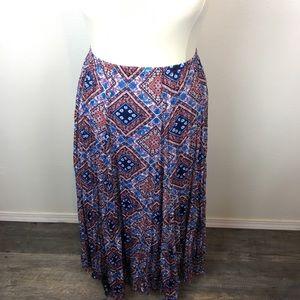 Boho Bandana Pleat Maxi Skirt Size XL